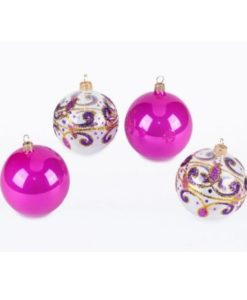 Lace set of Christmas balls. Glass Christmas ornaments.