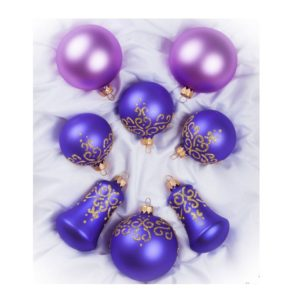 set of christmas ornaments balls bells