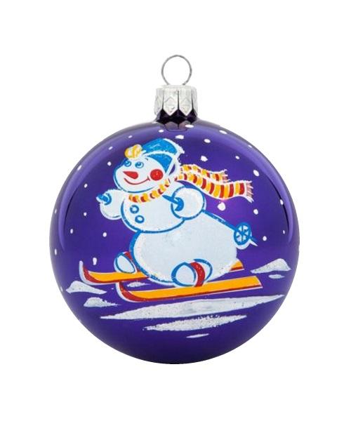 Skier Blue, Glass Christmas Ball, Glass Christmas Ornaments