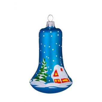 Glass Christmas Figurine Bell, Winter