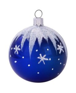 Winter Christmas Ball, Blue - Glass Christmas Ornaments