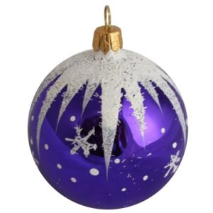 Winter Christmas Ball, Purple - Glass Christmas Ornaments