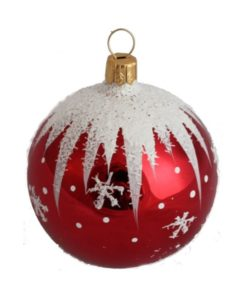 Winter Christmas Ball, Red - Glass Christmas Ornaments