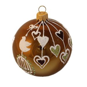 Birds and Hearts Glass Christmas Ball Ornament 80mm(3.1 inch), Glass Christmas Ornaments