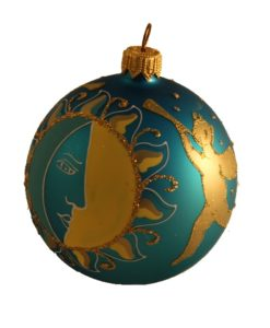 Sun and Angel Glass Christmas Ball Ornament 80mm(3.1 inch), Glass Christmas Ornaments