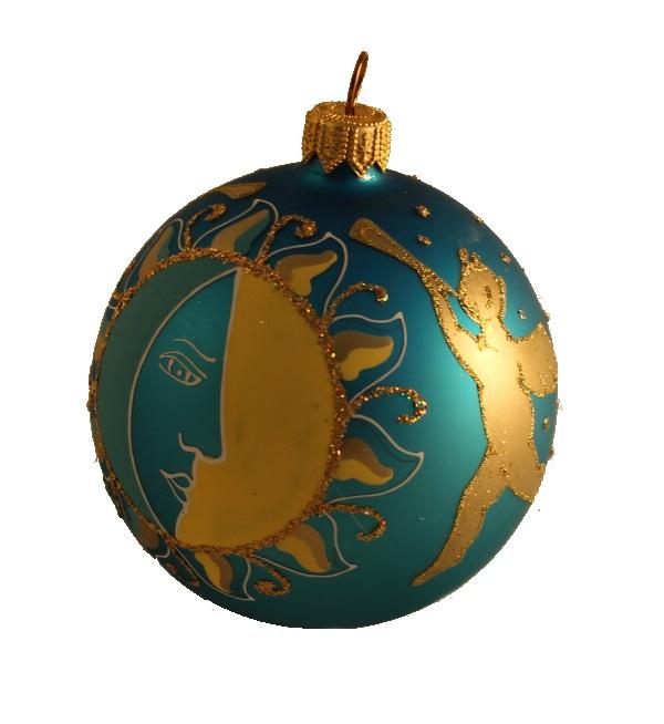 Sun and Angel Glass Christmas Ball Ornament 80mm(3.1 inch), Glass Christmas Ornaments