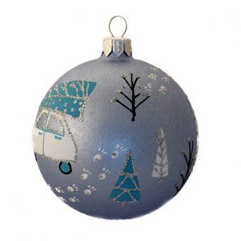 Car with Christmas Tree - Glass Christmas Balls