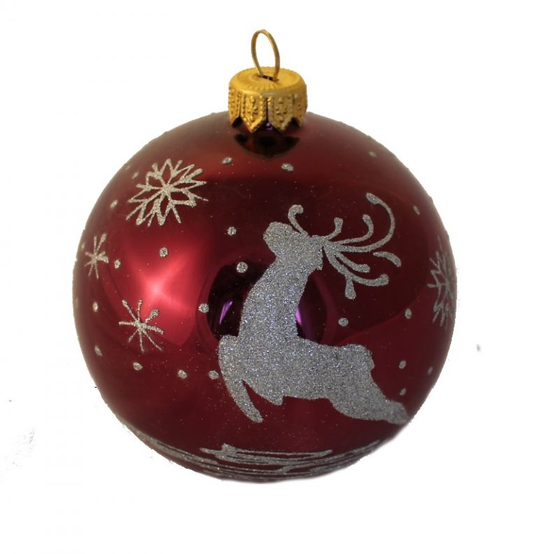 Deer and Snowflakes - Glass Christmas Ball Ornaments