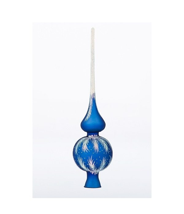 Finial Glass Tree Topper Crystal Blue - Glass Christmas Ornaments