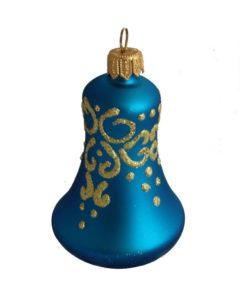 Glass christmas bell blue