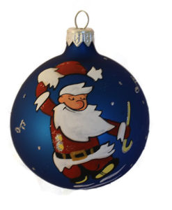 Happy Santa Glass Christmas Ball Ornament, Hand-blown and Hand-painted